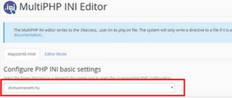 PHP beállítások módosítása – MultiPHP INI Editor